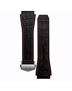 Zwarte Rubberen band met rood stiksel